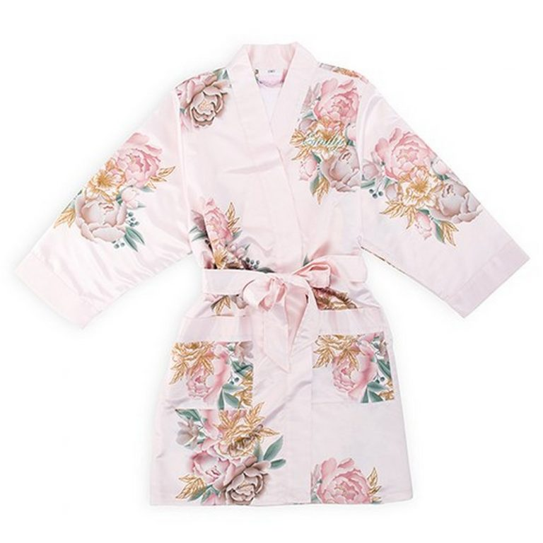 Premium Blissful Blooms Silky Kimono Robe With Pockets