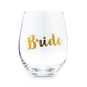 Stemless Wine Glass With Gold Foil - BrideStemless Wine Glass With Gold Foil - Bride