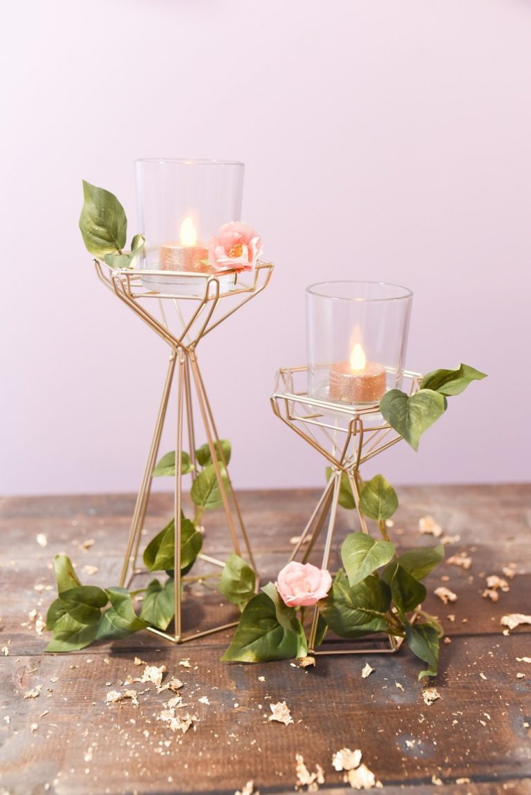 Tall Gold Geometric Candle Holder Set $32.50 for a set of 2