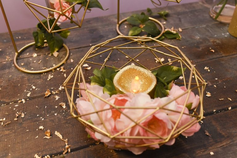 Modern Gold Geometric Metal Table Centerpiece $19