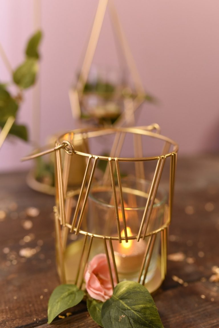 Gold Geometric Candle Lantern $30 for a set of 2