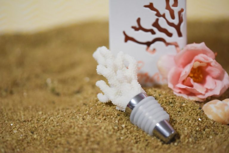 White Coral Wine Bottle Stopper Favor Gift Boxed $4.70