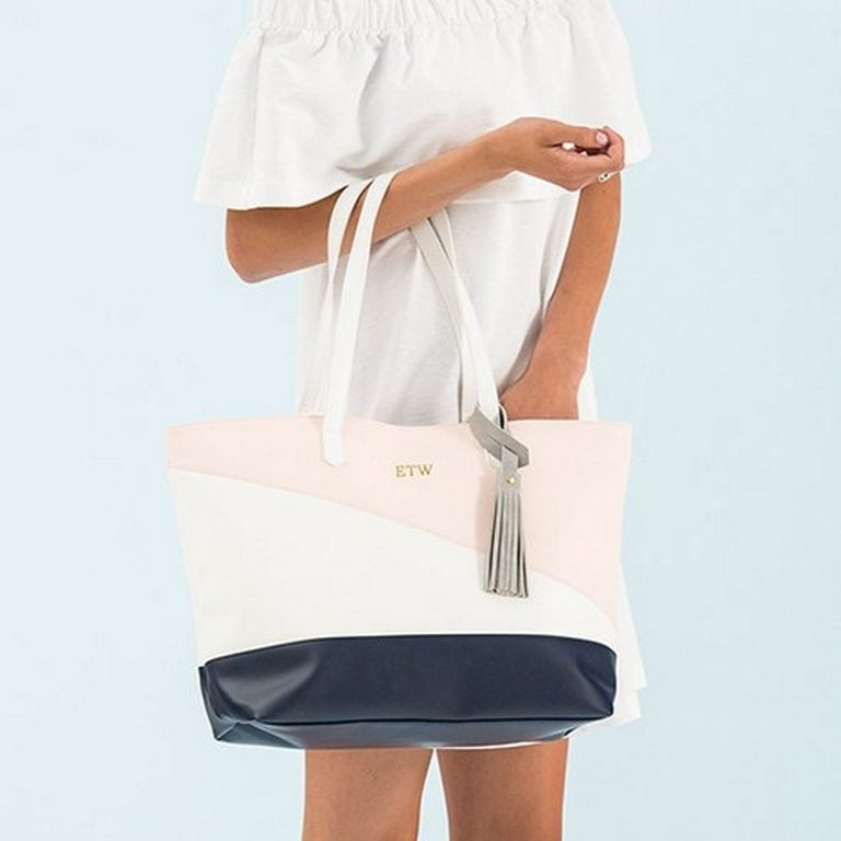 Large Personalized Color Block Faux Leather Tote Bag | $40 + $6.95 Personalization fee