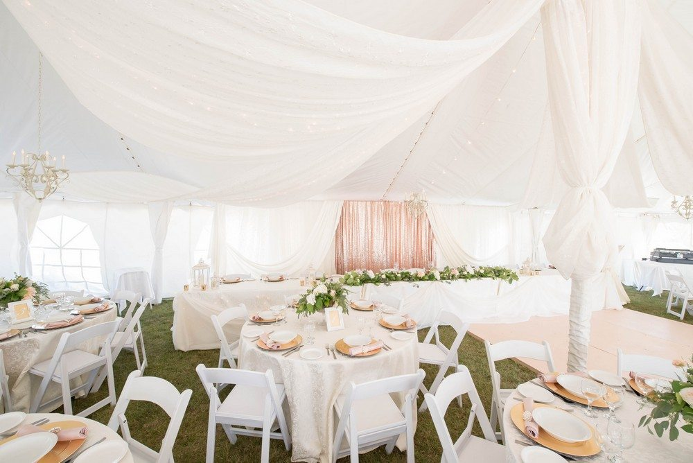 Now & Always white and blush wedding in a tent