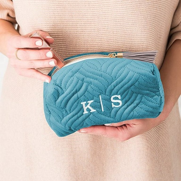 Quilted Velvet Travel Makeup Bag | $19 + $6.95 Personalization Fee