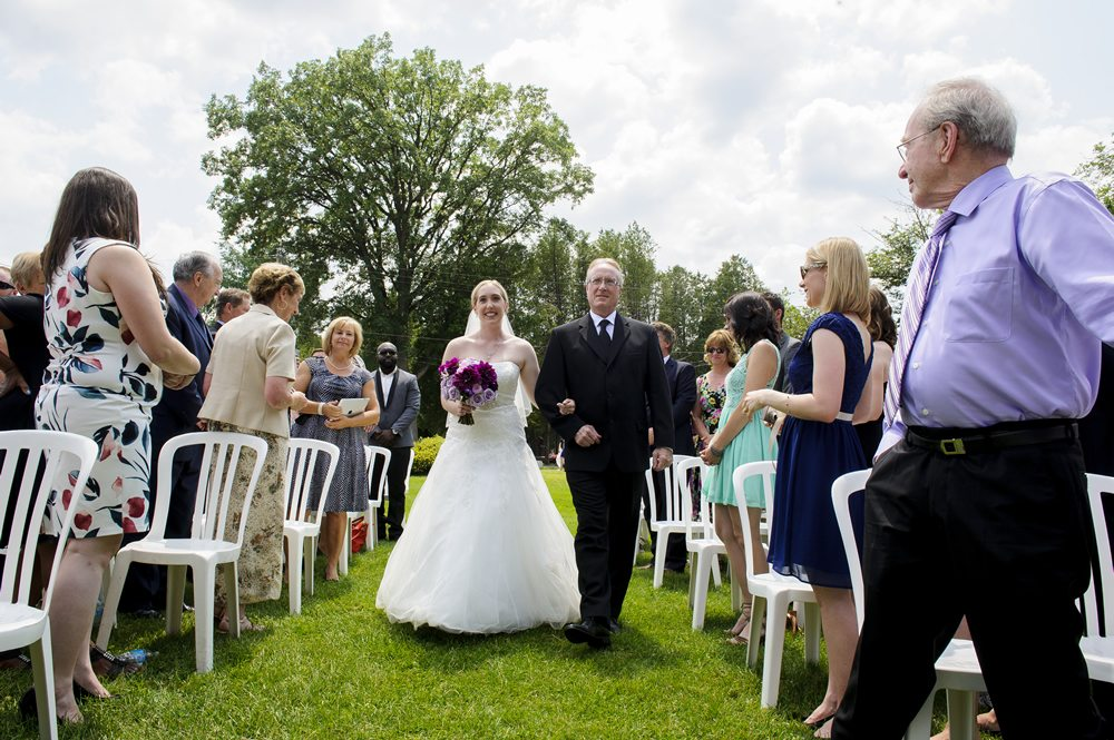Ceremony Music - bride and her dad walking down the aisle outdoor wedding