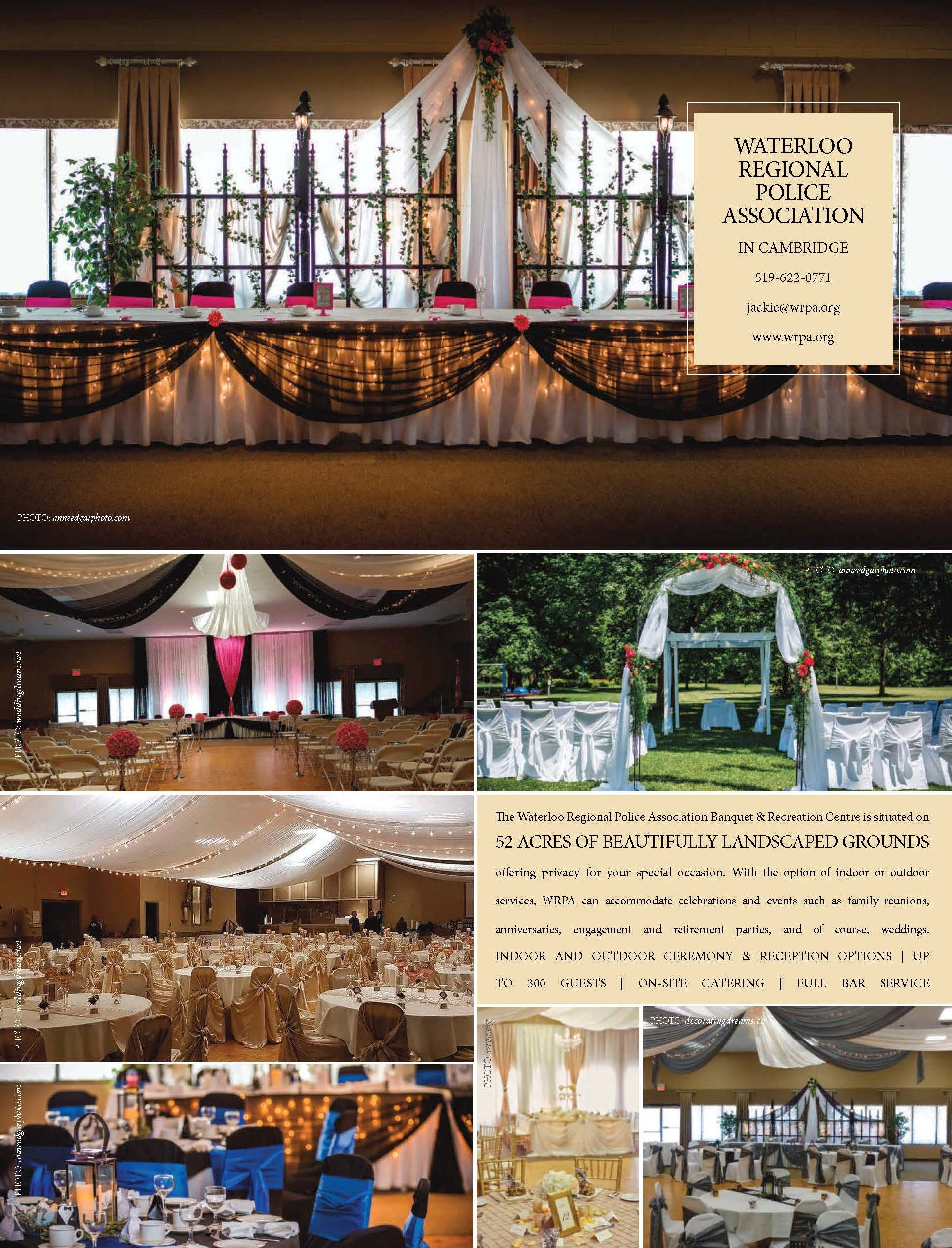 Waterloo Regional Police Association | Photos: top, right middle top, bottom left: Anne Edgar Photography | left top, left middle: Wedding Dream | right bottom: Decorating Dreams | right middle bottom: Waterloo Regional Police Association
