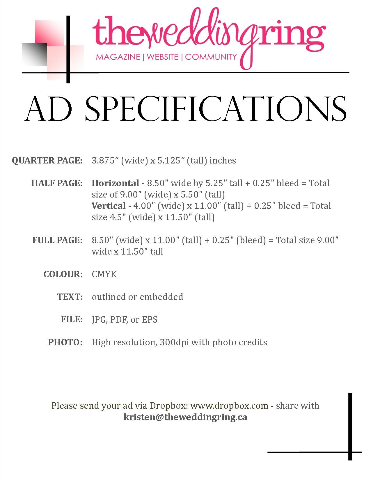 Ad Specs for The Wedding Ring Magazine | ONTARIO Edition