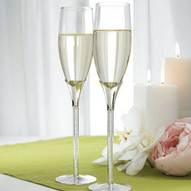 Wedding Champagne Glasses With Glass Gems In Stem | $60