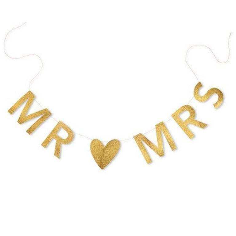 Mr & Mrs Gold Glitter Wedding Banner | $8.80