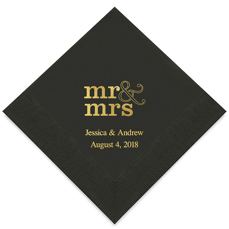 Mr & Mrs Cocktail Napkins | $30 for pkg of 100