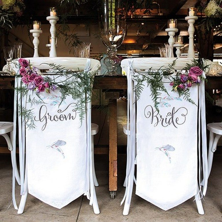 Bride And Groom Chair Banner Set