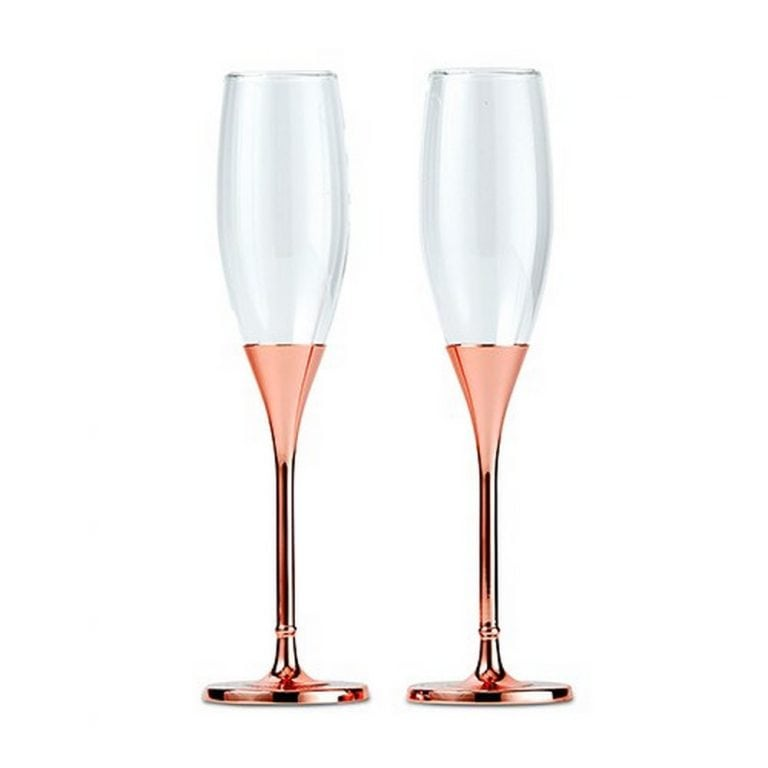 Rose Gold Champagne Glasses With Rhinestone Crystals | $100