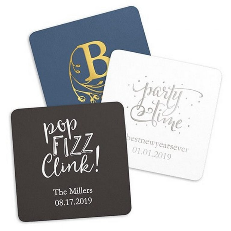 Personalized Paper Coasters | $38 for pkg of 100 ($15 personalization fee)