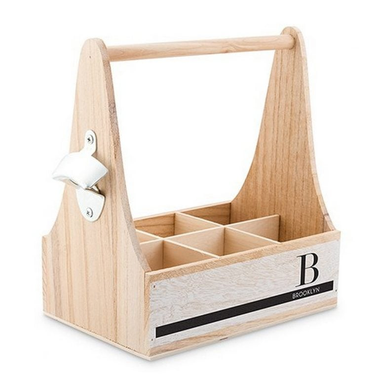 Personalized Wooden Bottle Caddy With Opener | $34.98 + $6.95 Personalization fee