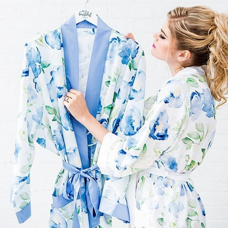 Women's Personalized Embroidered Floral Satin Robe With Pockets | Starting at $40 ($6.95 personalization fee)