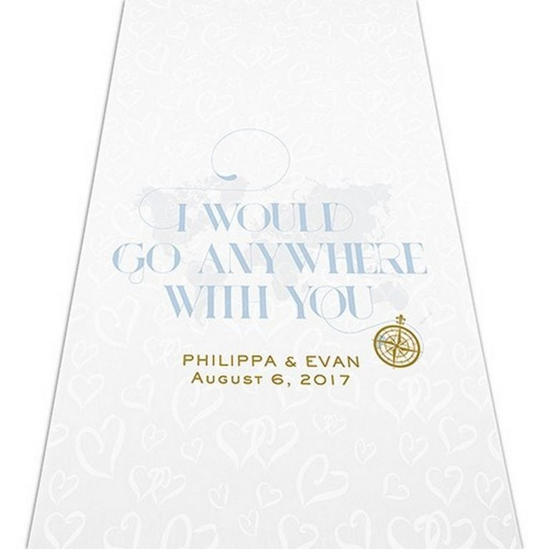 Vintage Travel Map Personalized Aisle Runner   $125