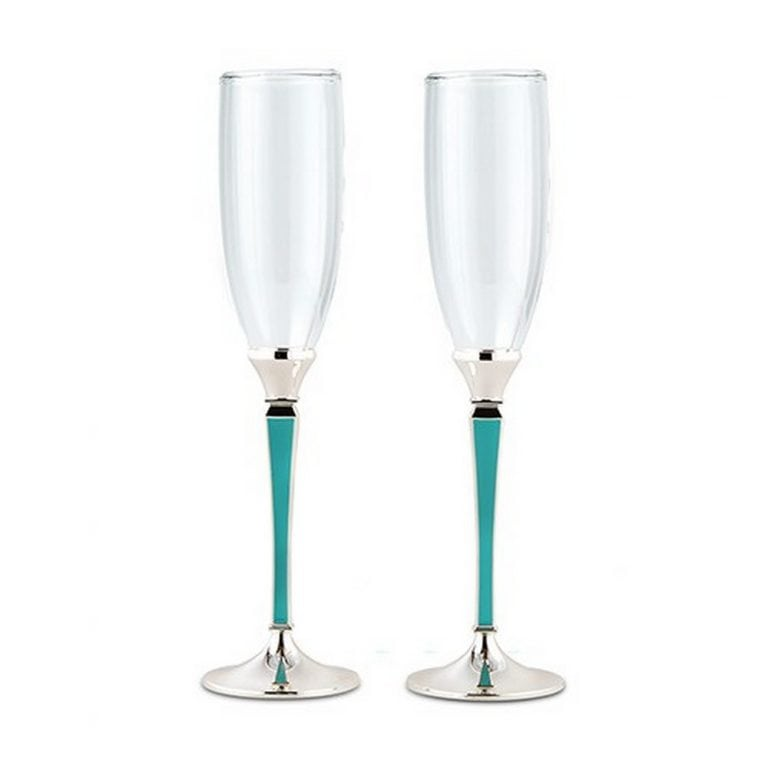 Wedding Champagne Glasses With Blue And Silver Stem | ON SALE $29.98
