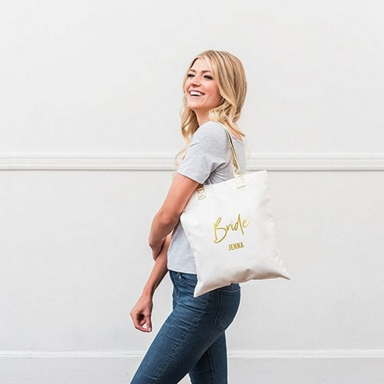 Personalized Cotton Canvas Fabric Tote Bag With Gold Strap | $16 + $3.95 personalization