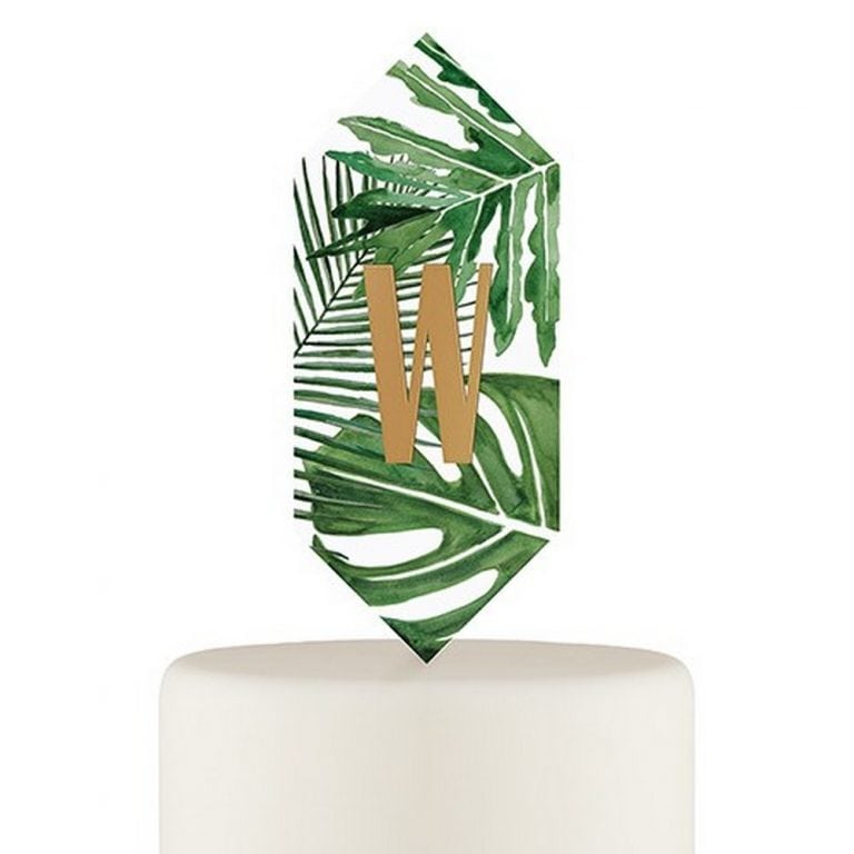 Greenery Floating Monogram Acrylic Cake Topper | $40