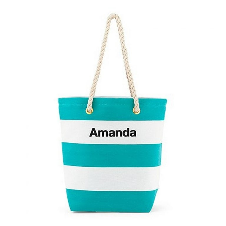 Personalized Large Bliss Striped Cotton Canvas Fabric Tote Bag | $25