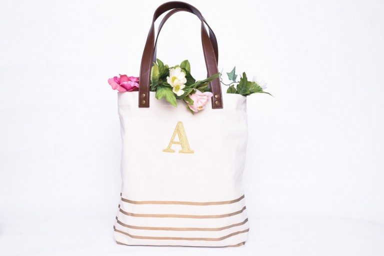 GOLD ANNIE STRIP TOTE  BAG $39 + $5 to Personalize with Letter