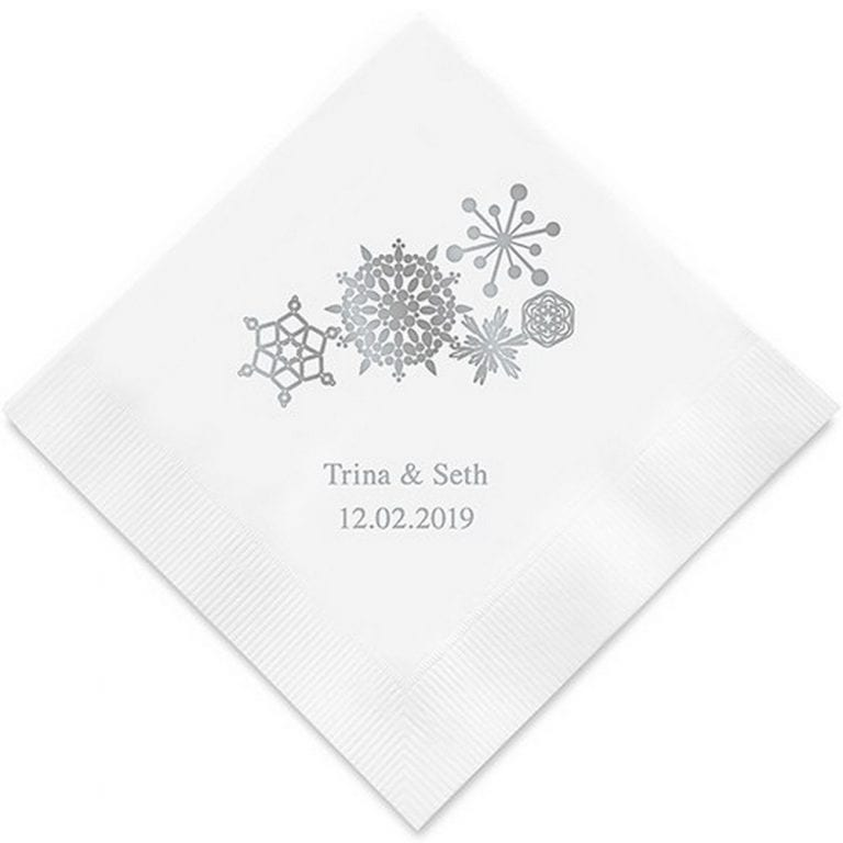 Winter Finery Snowflake Printed Paper Napkins | Luncheon size $32.50 for 100